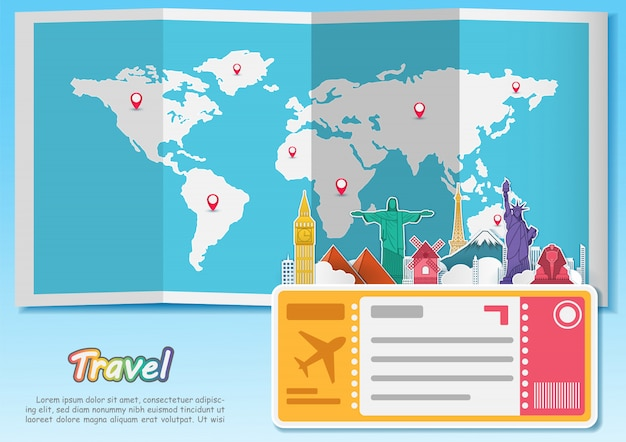 Самолет воздушное путешествие вокруг света Premium векторы