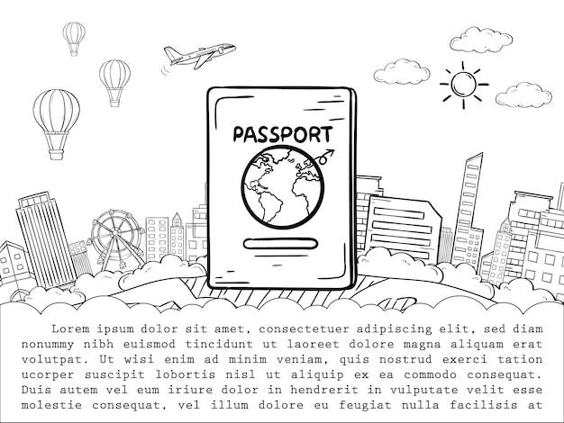 パスポートと飛行機のチェックインポイント旅行の世界の概念の周りに落書き Premiumベクター