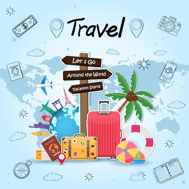 道標と旅行オブジェクト、アクセサリー、荷物を持つ夏の要素 Premiumベクター