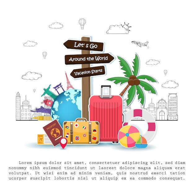 Указатели и туристические объекты, аксессуары и летние элементы с багажом Premium векторы