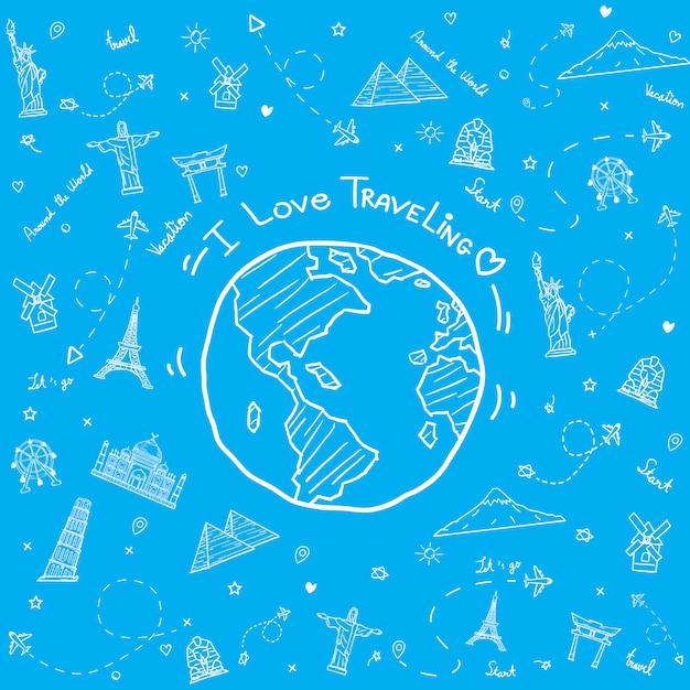 旅行の要素を持つ描かれた世界 Premiumベクター
