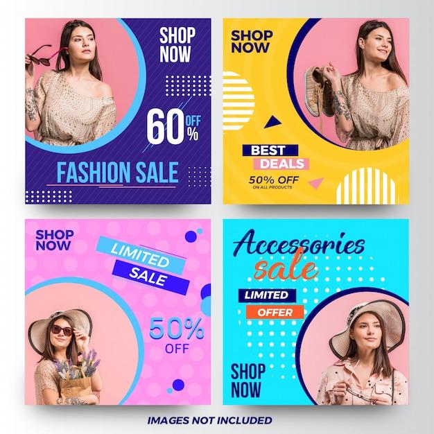 モダンファッションセールソーシャルメディア広告バナーコレクション Premiumベクター