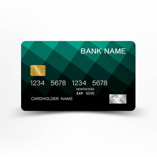グリーンクレジットカードのデザイン。 Premiumベクター