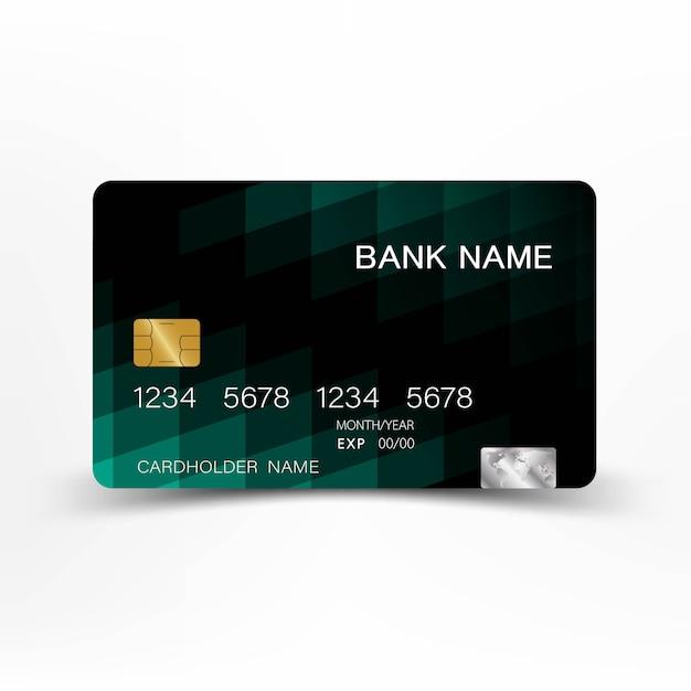 黒と緑の色のクレジットカードのデザインをミックスします。 Premiumベクター