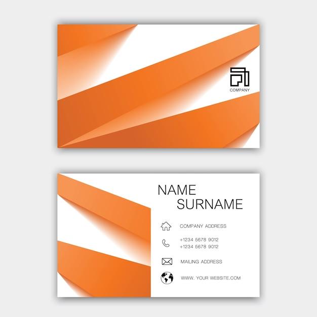 オレンジ色の名刺デザイン。 Premiumベクター
