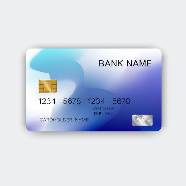 モダンなブルーのクレジットカード Premiumベクター