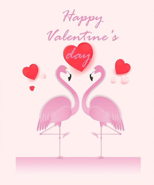 カップルフラミンゴと幸せなバレンタインデーカード。 Premiumベクター