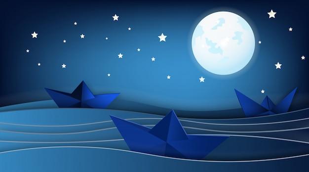 月と星と海の風景の中のヨット。 Premiumベクター