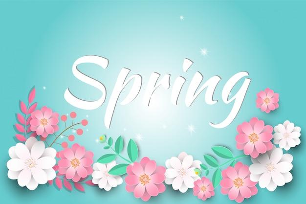 こんにちは美しい紙の花と春の販売の背景。 Premiumベクター