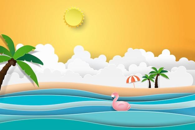 夕日と海の風景の上のフラミンゴボート。 Premiumベクター