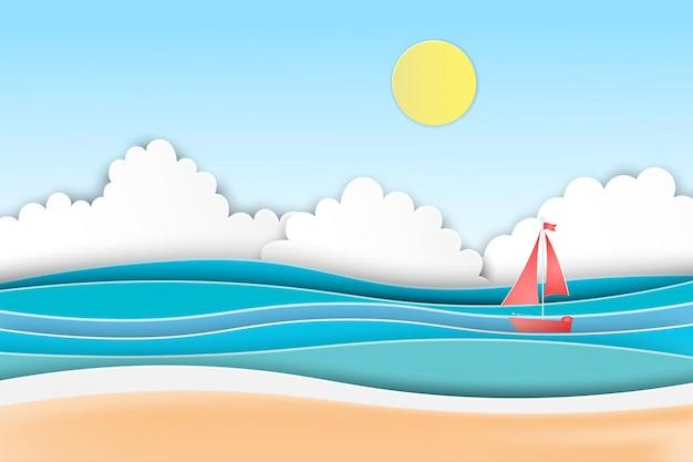 ボートでビーチで夏のビーチのヤシの木。 Premiumベクター