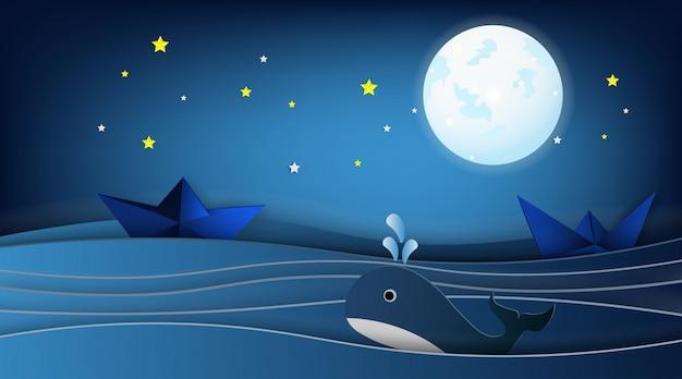 クジラと海の風景の中のヨット。 Premiumベクター