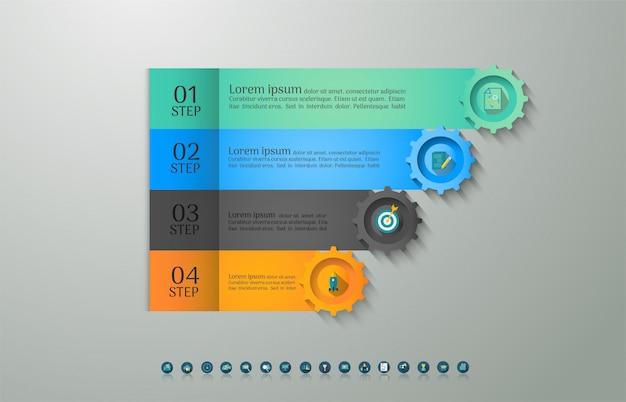 デザインビジネステンプレートオプションインフォグラフィックグラフ要素。 Premiumベクター
