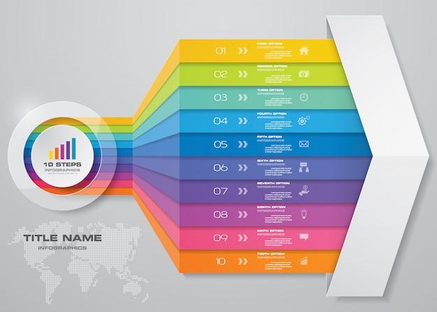 インフォグラフィック矢印チャートデザイン要素。 Premiumベクター