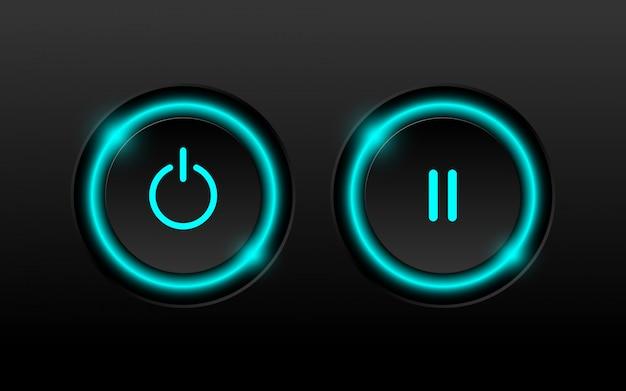 ネオン照明付きの電源ボタンと一時停止ボタン。 Premiumベクター