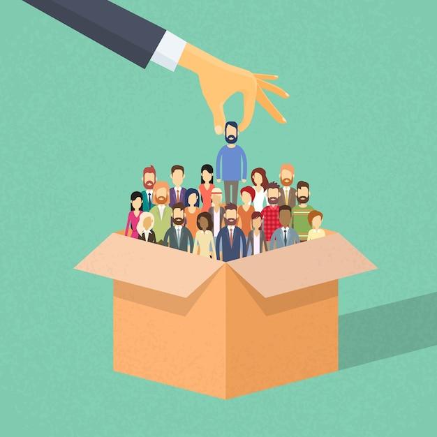 リクルートメントハンドピックアップビジネスパーソン候補者からボックス Premiumベクター