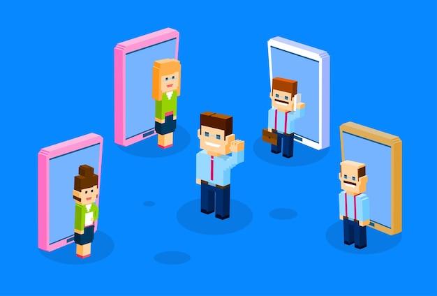 ビジネスパーソンビッグセルスマートフォン Premiumベクター