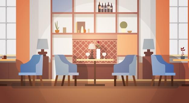 モダンカフェインテリア空人なしレストラン Premiumベクター