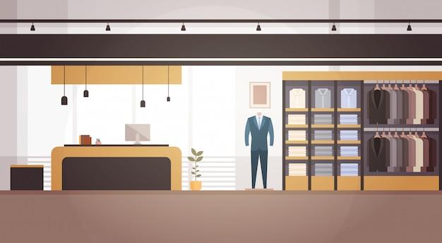 大きなファッションショップスーパーマーケット男性服ショッピングモールインテリアバナーコピースペース Premiumベクター
