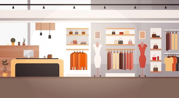 大きなファッションショップスーパーマーケット女性服ショッピングモールインテリアバナーコピースペース Premiumベクター
