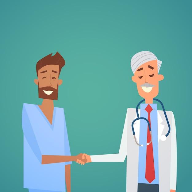 グループ内科医ハンドシェイクチームクリニック病院 Premiumベクター