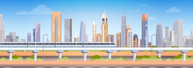 都市超高層ビルビュー都市の景観背景スカイライン Premiumベクター