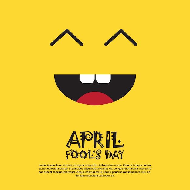 Улыбающееся лицо первого апреля, день дурака, поздравительная открытка с праздником Premium векторы
