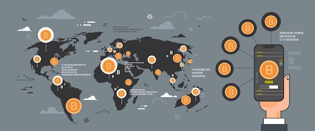 Концепция сети криптовалюты, рука смартфон на золотые биткойны на карте мира Premium векторы
