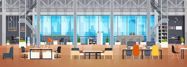 空のコワーキングスペースインテリアモダンなコワーキングオフィスクリエイティブ職場スペース水平方向のバナー Premiumベクター