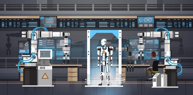 ロボット生産コンセプトエンジニアリング産業オートメーションロボット製品製造 Premiumベクター