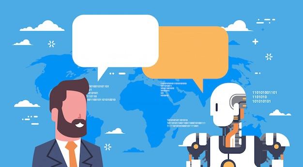 Современный робот общается с деловым человеком футуристический механизм искусственного интеллекта технология Premium векторы