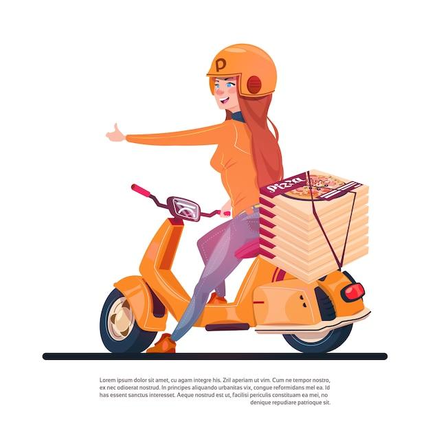 ピザ配達サービス若い女の子乗馬電動スクーター配送食品コンセプト Premiumベクター