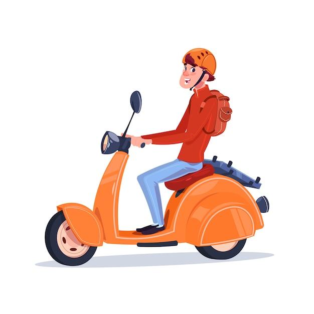 白い背景で隔離された電気スクータービンテージバイクに乗って若い男 Premiumベクター