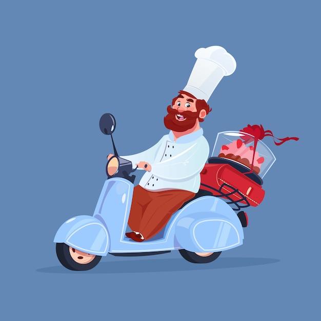 青の背景に分離されたビンテージのオートバイのケーキの電気スクーター配達に乗ってシェフクック Premiumベクター