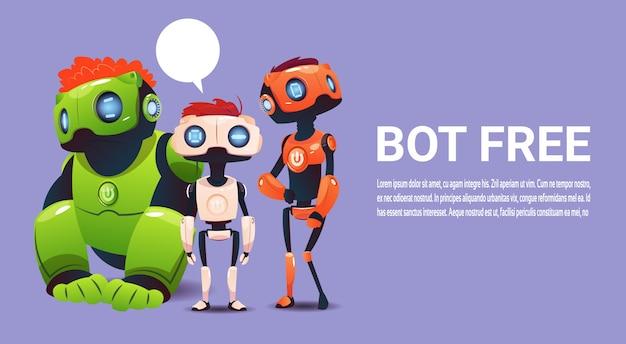 Бесплатный чат-бот, элемент виртуальной помощи робота веб-сайта или мобильных приложений, искусственный интеллект Premium векторы