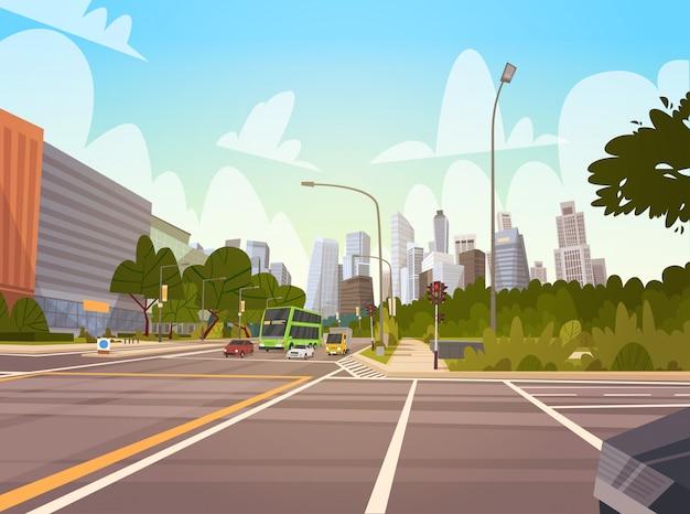 シティストリート超高層ビル街路景観近代的な街並みシンガポールダウンタウン Premiumベクター