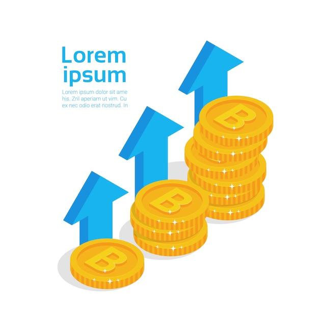 Концепция роста биткойнов набор золотых монет современная криптовалюта цифровых денег Premium векторы