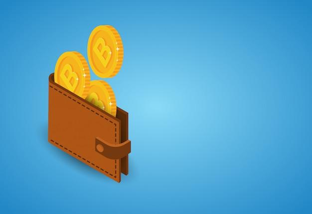 Биткойны кошелек на синем фоне современная веб-концепция цифровых денег криптовалюты Premium векторы
