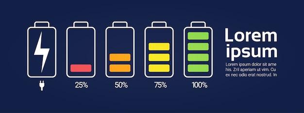 電池アイコンはコピースペースが付いている低いから高い充電レベル表示器テンプレートバナーに充電器を設定します Premiumベクター