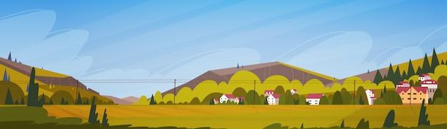 小さな村の水平方向のバナーと自然山の夏の風景 Premiumベクター