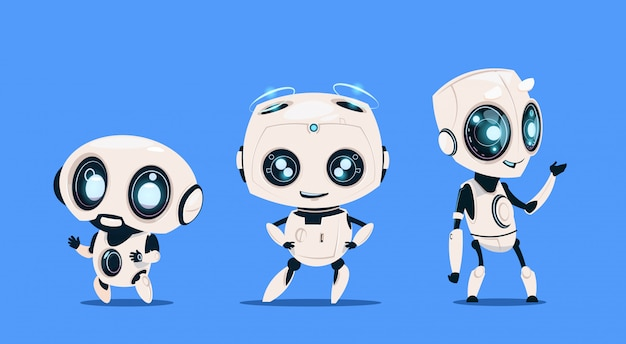 Группа современных роботов, изолированных на синем фоне симпатичный персонаж мультфильма искусственный интеллект Premium векторы
