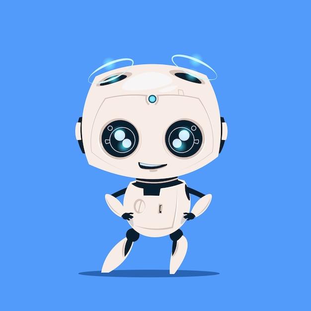青色の背景に分離された現代のロボットかわいい漫画のキャラクターの人工知能の概念 Premiumベクター