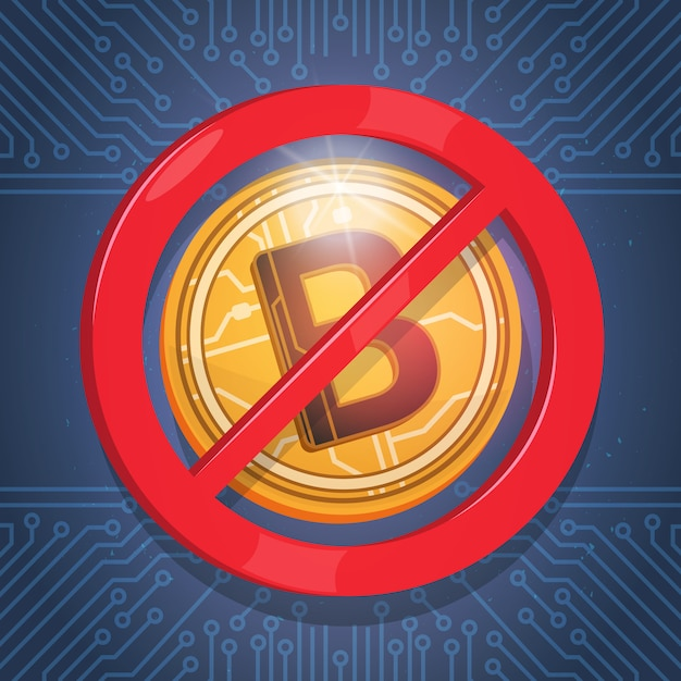 Биткойны не принимаются войти цифровая криптовалюта современный веб-деньги иконка синий фон цепи Premium векторы