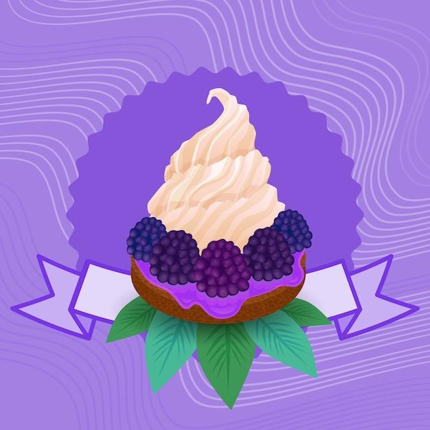 カラフルなケーキ甘い美しいカップケーキデザートおいしい食べ物 Premiumベクター