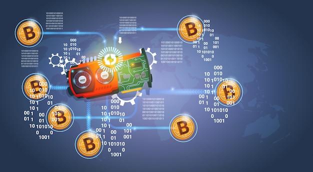 Микрочип с золотыми биткойнами цифровая криптовалюта современные веб-деньги на темно-синем фоне Premium векторы