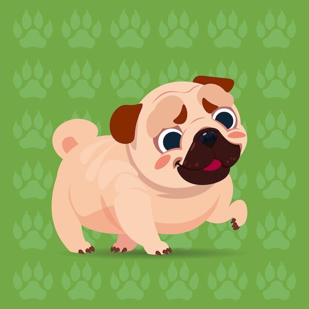 足跡の背景の上に座ってパグ犬ハッピー漫画かわいいペット Premiumベクター