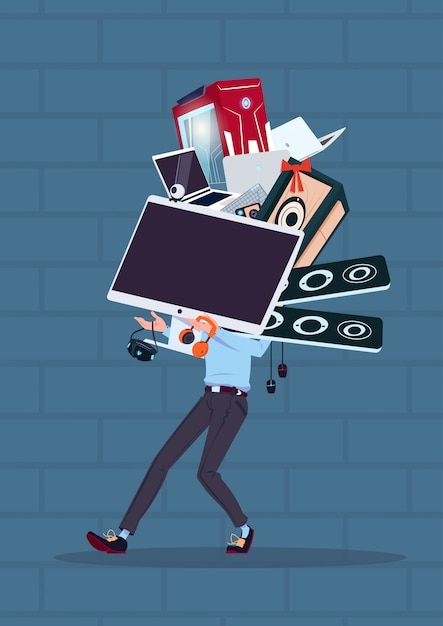 青レンガの壁のサイバーの上に立ってコンピューターと現代の電子機器を持って男 Premiumベクター