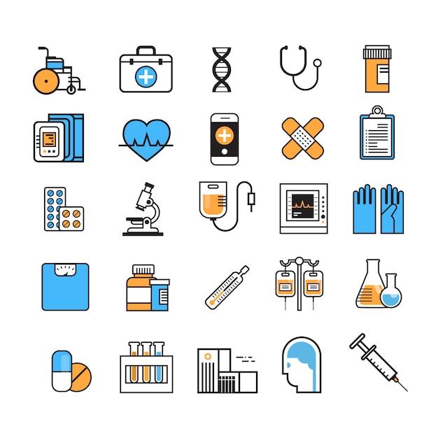 Медицинский набор иконок тонкая линия медицинское оборудование знак на белом фоне концепция лечения в больнице Premium векторы