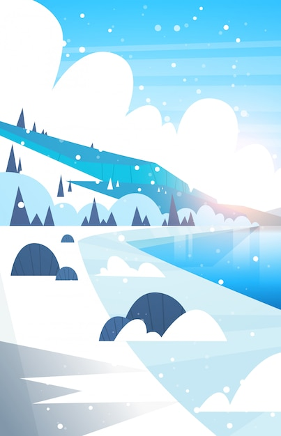 冬の風景凍った川と雪が降る山の丘 Premiumベクター