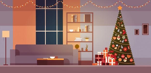 冬の休日の装飾付きのモダンなリビングルームクリスマスツリーと花輪ホームインテリア Premiumベクター
